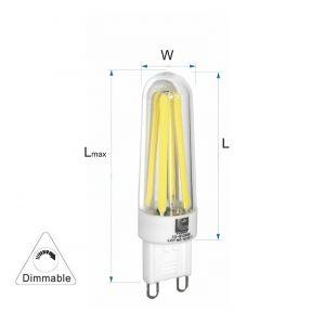 Λάμπα LED COG Κεραμικό G9 3.5W 230VAC Ντιμαριζόμενη Ψυχρή