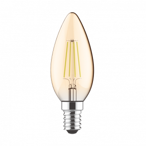 LED CANDLE AMBER STEP DIM E27 230V 5W 2700K 300° 400LM RA80