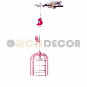 Φωτιστικό Παιδικό Κρεμαστό 1χΕ27 Πουλάκια Ρόζ Ξύλο-Πλαστικό