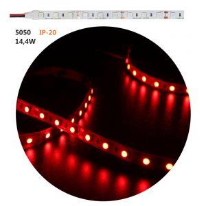 ΤΑΙΝΙΑ LED ΛΕΥΚΗ ΑΥΤΟΚΟΛΛΗΤΗ 5m24VDC 14.4W/m 60LED/m 5050 ΚΟΚΚΙΝΟ IP20