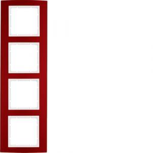 Berker B.3 Πλαίσιο 4 Θέσεων Κόκκινο Αλουμίνιο με Λευκό διακοσμητικό