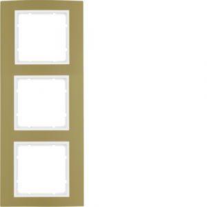 Berker B.3 Πλαίσιο 3 Θέσεων  Χρυσό Αλουμίνιο με Λευκό Διακοσμητικό