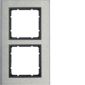 Berker B.7 Πλαίσιο κάθετο  Μεταλλικό 2 Θέσεων Inox με Ανθρακί Διακοσμητικό