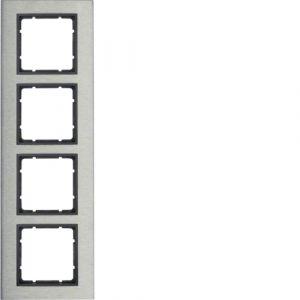 Berker B.7 Πλαίσιο κάθετο  Μεταλλικό 4 Θέσεων Inox με Ανθρακί Διακοσμητικό