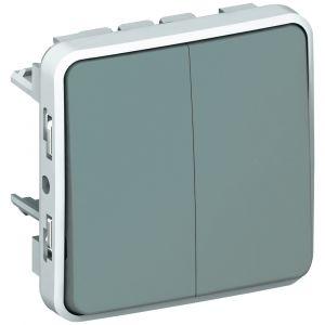 Μηχανισμός Διακόπτη Διπλού Α/Ρ Γκρί IP55 Plexo