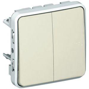Μηχανισμός Διακόπτη Διπλού Α/Ρ Λευκός IP55 Plexo