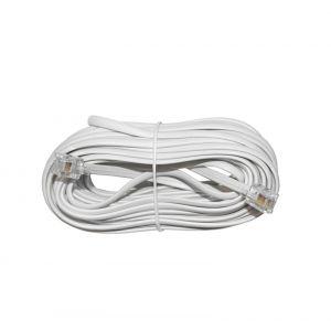 Καλώδιο Προέκτασης Τηλεφώνου 6p4c Πλακέ 10μ Λευκό