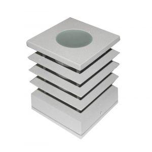 Φωτιστικό Αλουμινίου Τετράγωνο Με Γρίλια Φ110Χ110mm Ε14 Γκρί
