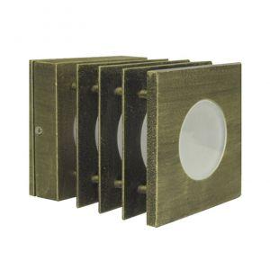Φωτιστικό 7232 Αλουμινίου Τετράγωνο Με Γρίλια Φ110Χ110mm Ε14 Ρουστίκ